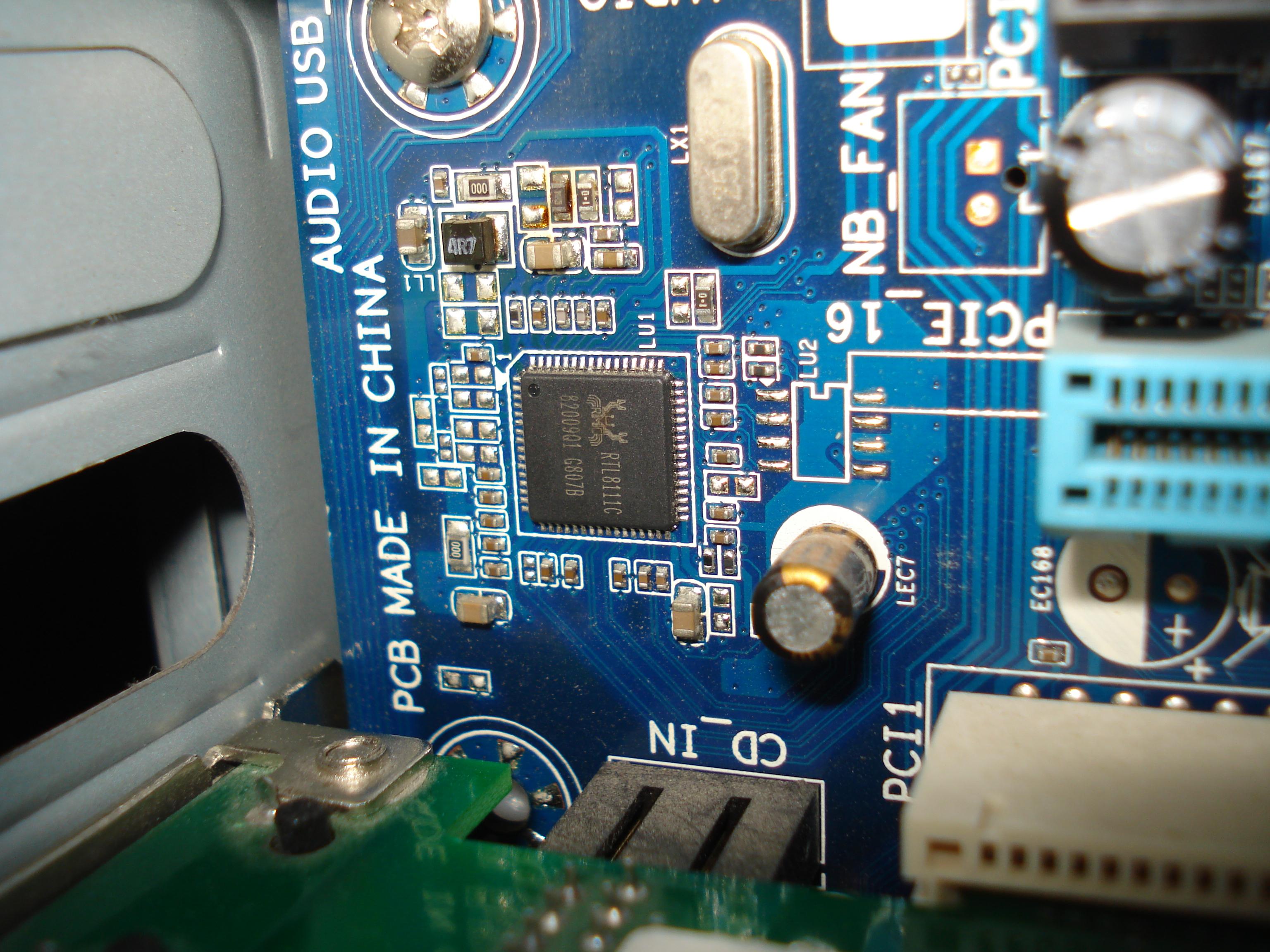 Gigabyte GA-MA74GM-S2H sprz�towe od��czenie zintegrowanego LANa
