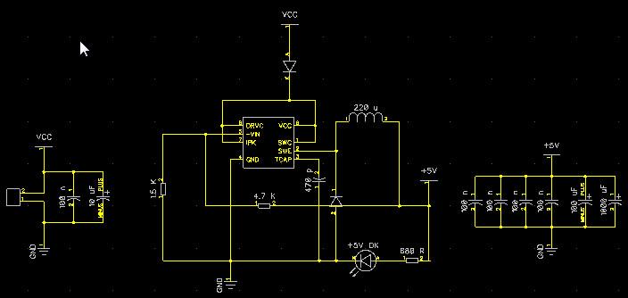 Схема 2. Питание 6-35В постоянного тока, понижается до 5В с помощью импульсного стабилизатора MC34063A.
