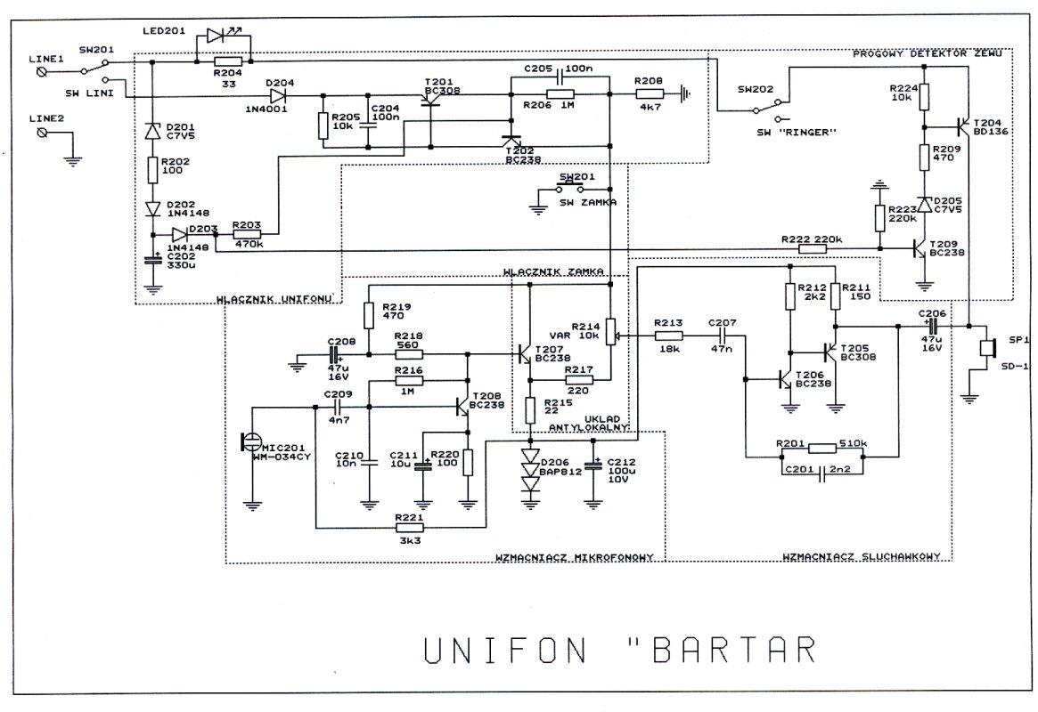 Intercom z 2 unifon�w - Bartar  do central TD1, TD2 z tranzystorem BD140