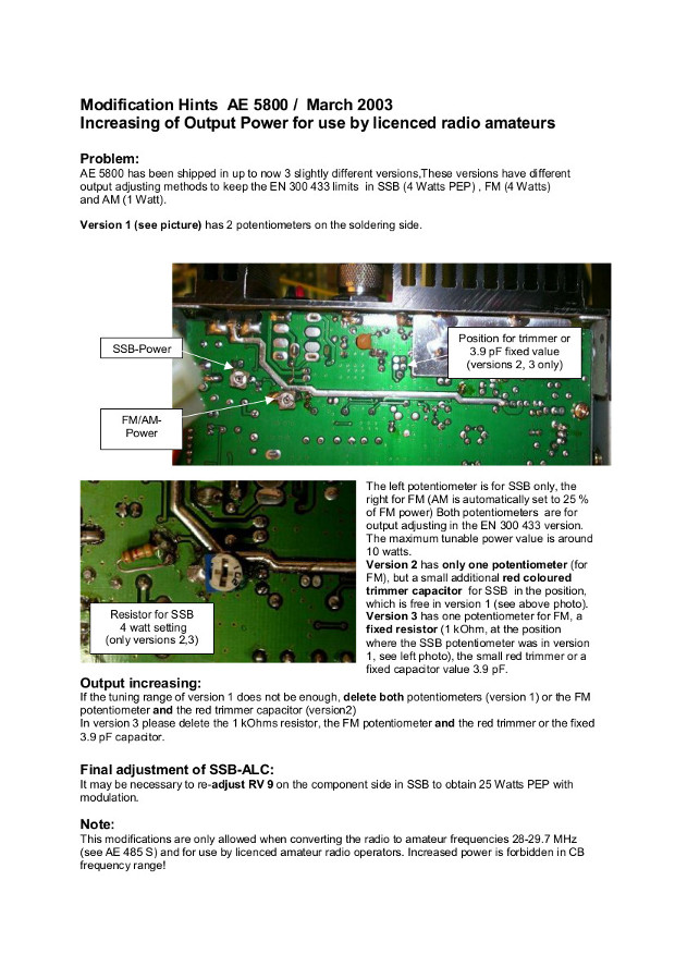 Albrecht AE5800 - modyfikacja