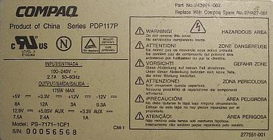 Compaq series PDP117P model: PS-1771-1CF1 - jaka to dioda D8