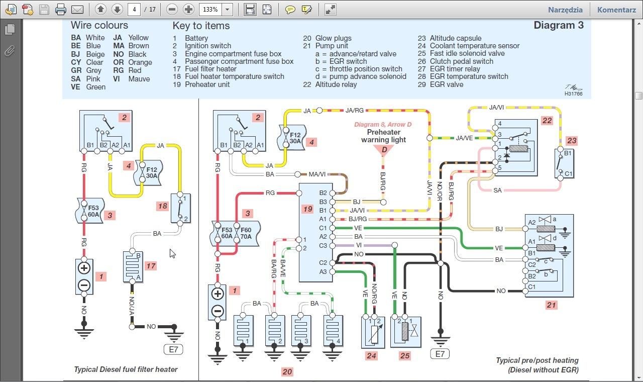Laguna I 2,2d '96 - Podstawa filtra paliwa: grza�ka, czujnik, pom
