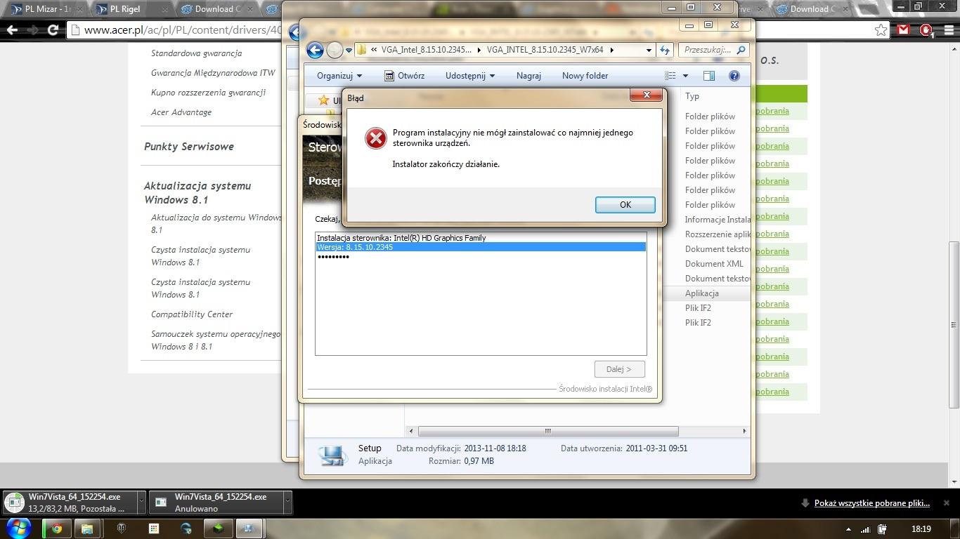 Acer 5360G-B812G32Mnsk - Sterowniki podzespo��w Intela nie instaluj� si�
