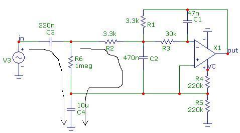 Schemat filtra dolnoprzepustowego z zasilaniem pojedynczym