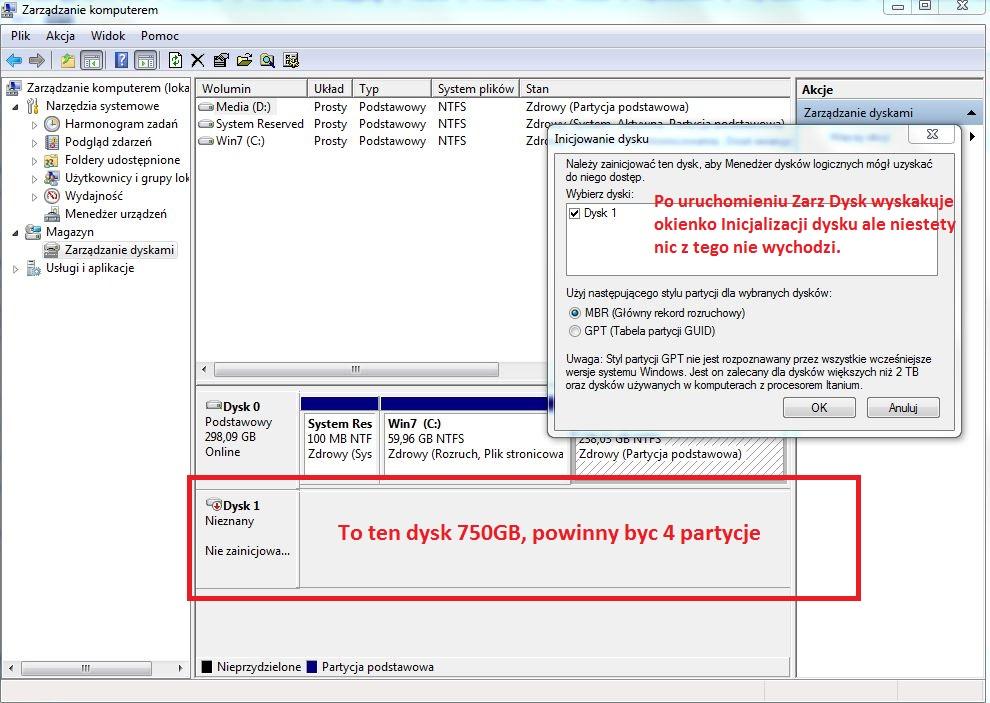 Seagate 7200.11 - BIOS i Win - nie widz� dysku po resecie kompa
