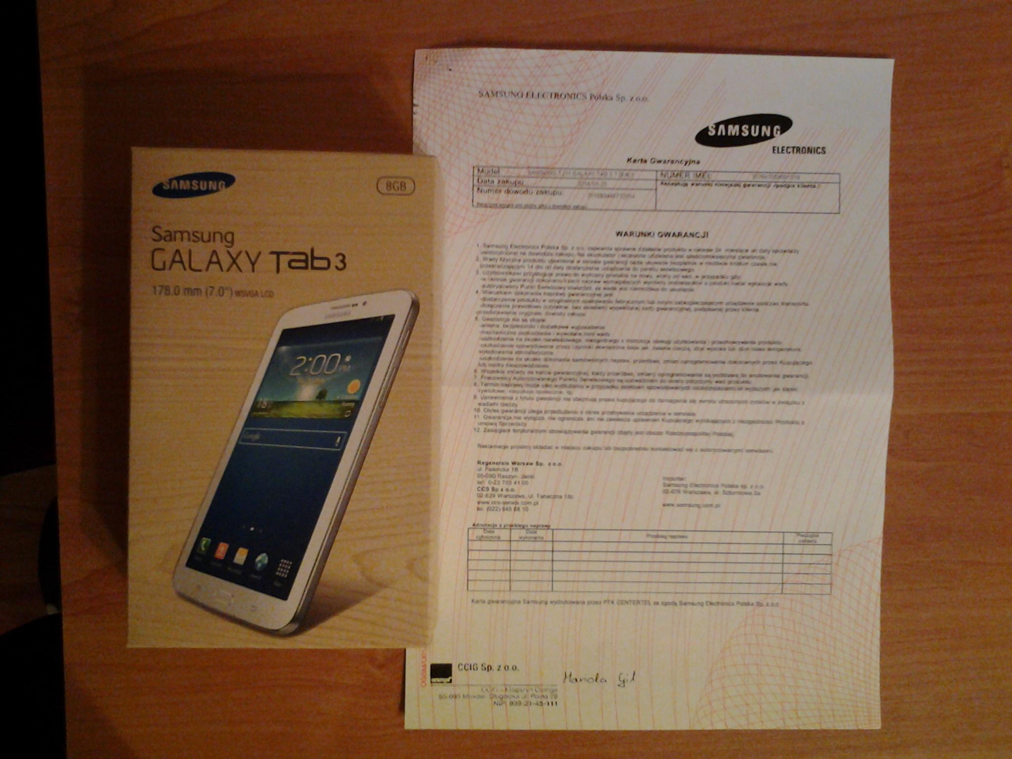 """[Sprzedam] NOWY Samsung Galaxy Tab3 7.0"""" 8GB 3G."""
