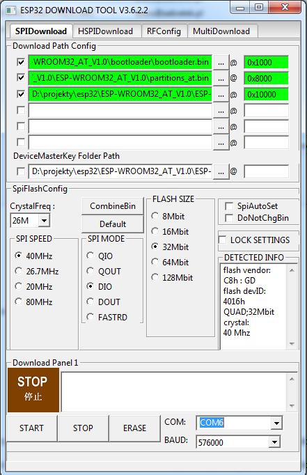 ESP32 WROOM-32 jak wystartować z komendami AT na UART