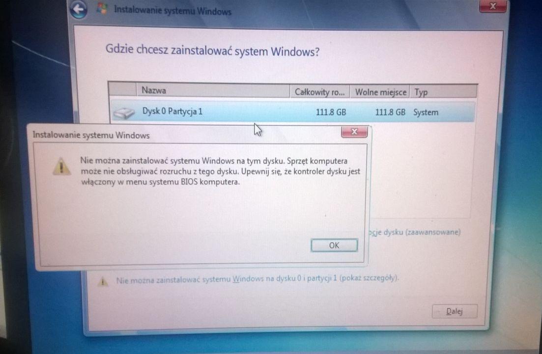 Crucuial M500 - B��d przy instalacji Win 7 na dysku SSD