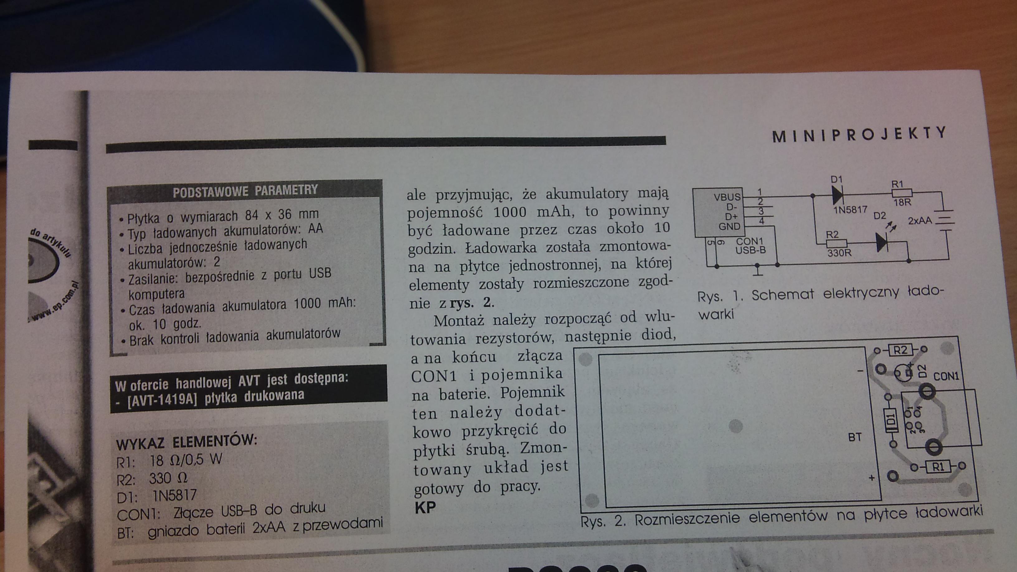 �adowarka Akumulatorka Ni-MH na USB