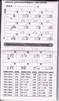 Licznik KROSS VETTA RT288L- ustawienie rozmiaru ko�a/opony