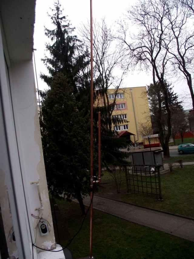 Antena typu J na pasmo 2m z miedzi.