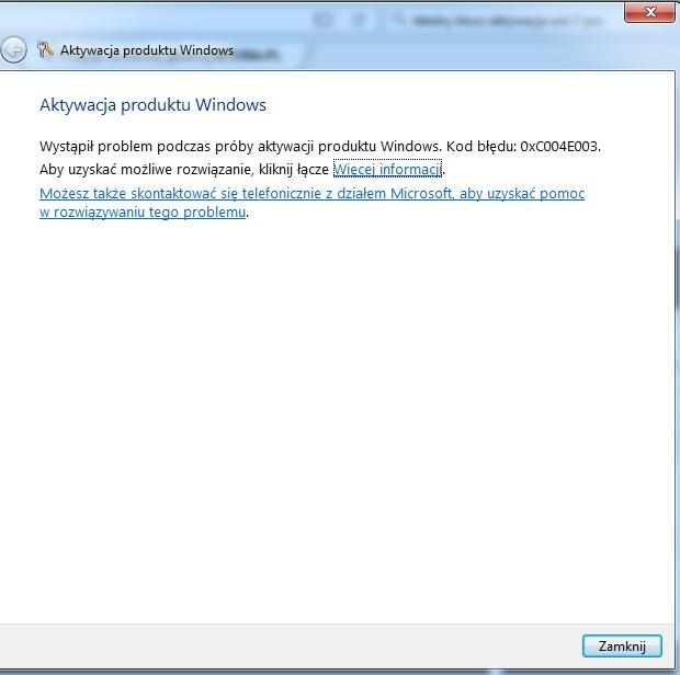 Brak możliwości aktywacji Windows 7 Pro SP1 64bit OEM Lenovo