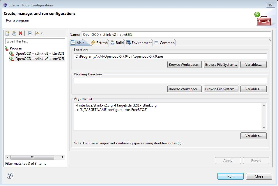 [STM32][Eclipse] Konfiguracja OpenOCD 0.7.0 do wsp�pracy z FreeRTOS