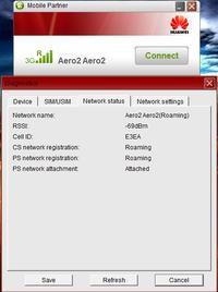 Huawei e398 u-1 - nie łączy się z siecią Aero2