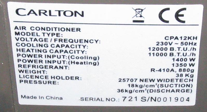 [Sprzedam] Klimatyzator przeno�ny Carlton CPA12KH na cz�ci lub do naprawy.
