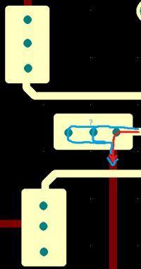 Płytka dwuwarstwowa - wielokrotne przelotki i przepływ prądu przez nie.