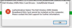 Dell E6440 + WWAN DW5550 - Brak autoryzacji przy instalowaniu sterownika WWAN