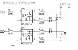 Sterowanie tyrystorem z mikrokontrolera.