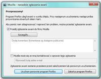 Mozilla Firefox - przegladarka - Firefox uległ awarii w wyniku błędu.