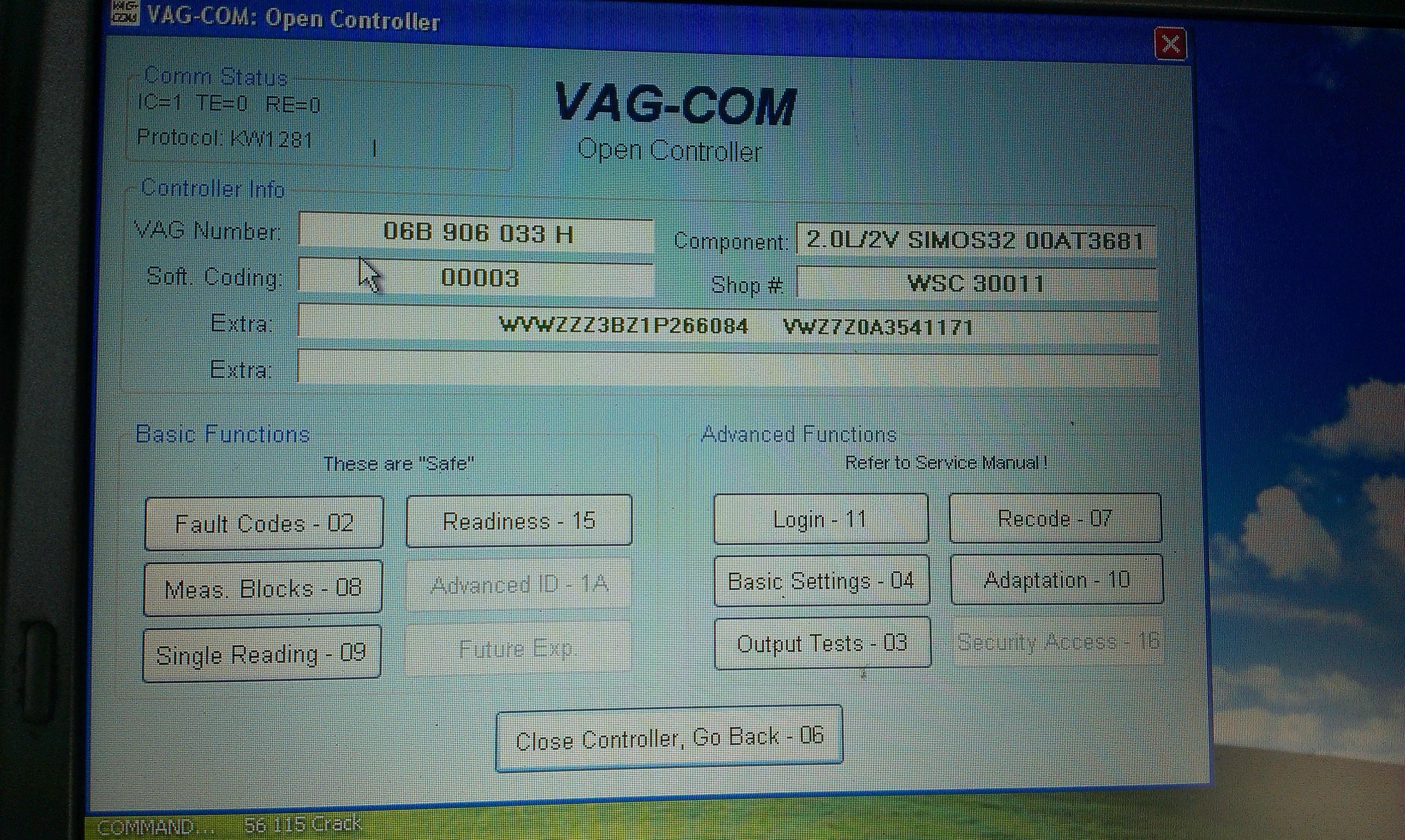 vw passat b5 fl - 2.0 benzyna silnik i abs nie przyjmuje kodowania