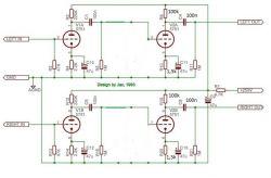 Schemat korekcji barwy dźwięku w przedwzmacniaczu lampowym.