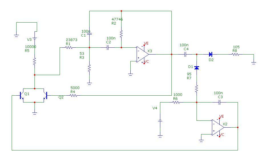 Generator samowzbudny napi�cia sinusoidalnego z filtrem pasmowym