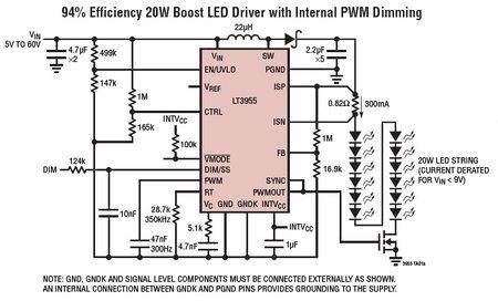 LT3955 - scalona przetwornica DC/DC z generatorem PWM, do zasilania diod LED