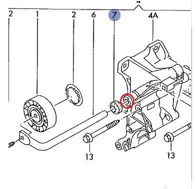 Golf 3 TDI silnik 1Z - Numer OE tulejki wspornika napinacza ?