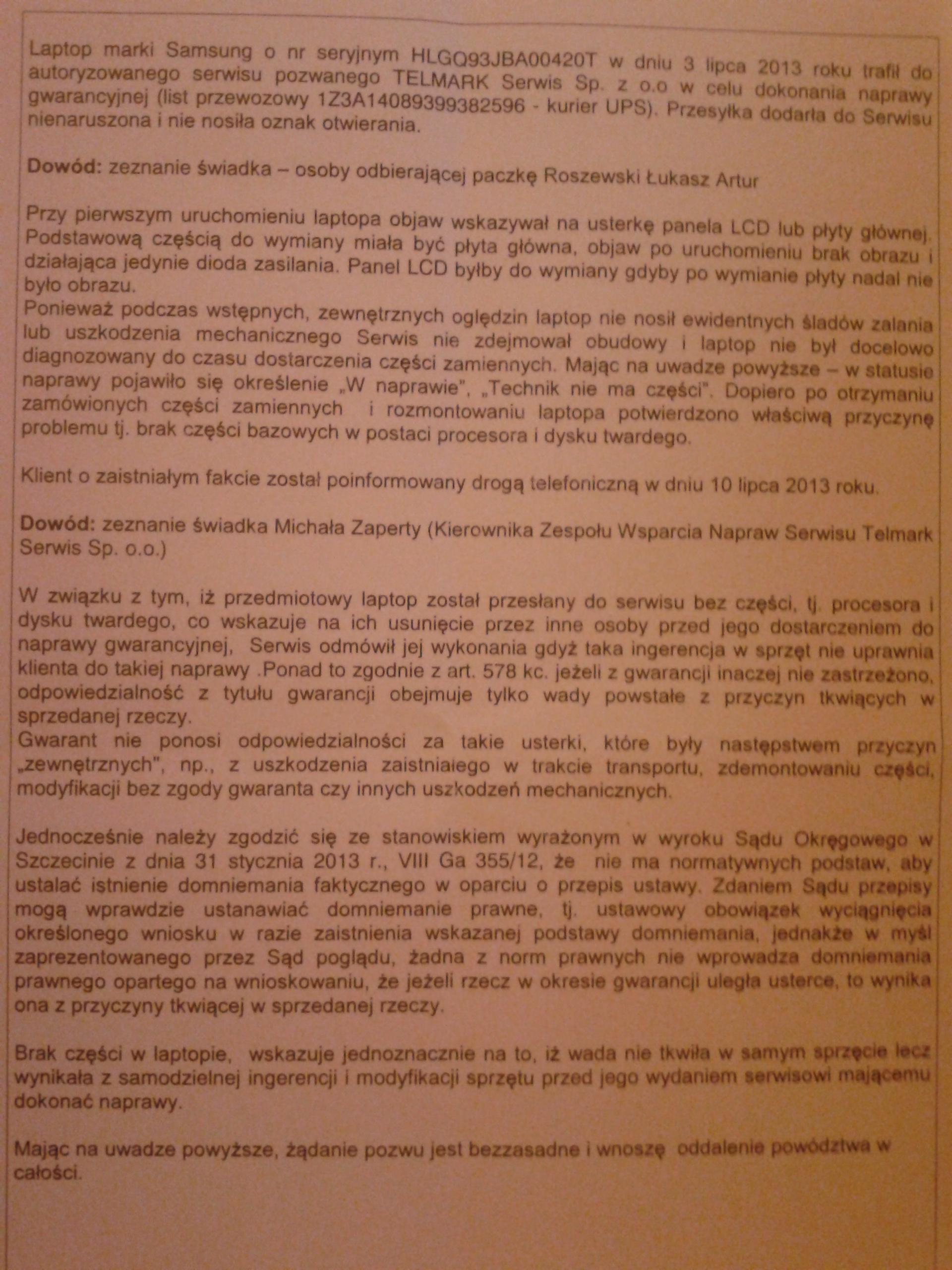 Problem Serwis Samsung - TELMARK Warszawa