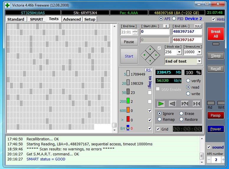 Zawieszanie komputera z pod��czonym dyskiem Seagate ST3250410AS