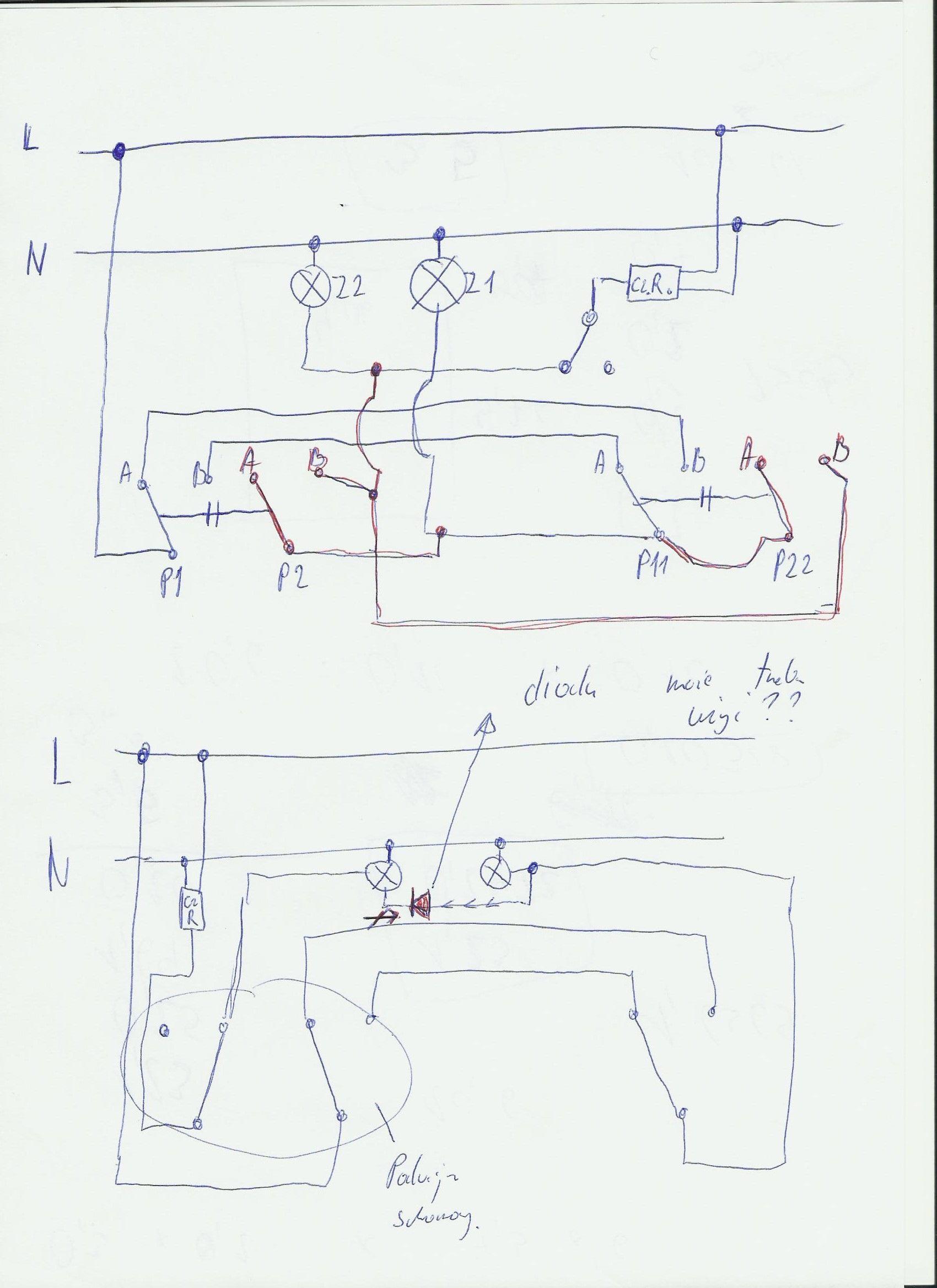 Schemat Instalacji Z Czujnikiem Ruchu W Instalacji Schodowej