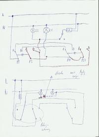 Schemat instalacji z czujnikiem ruchu w instalacji schodowej.