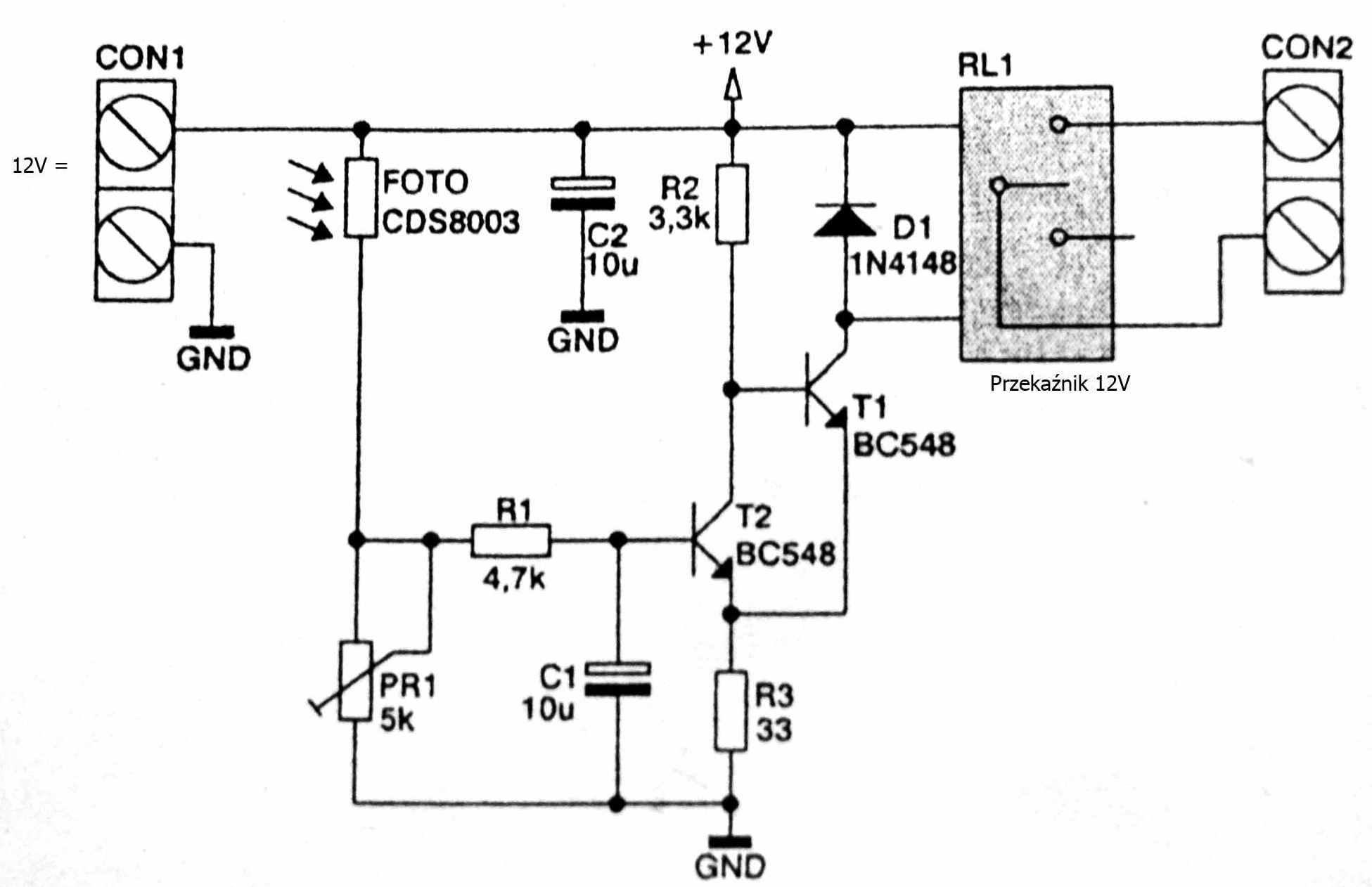 Zniwelowanie bezw�adno�ci ukladu czujnika zmierzchowego 12V