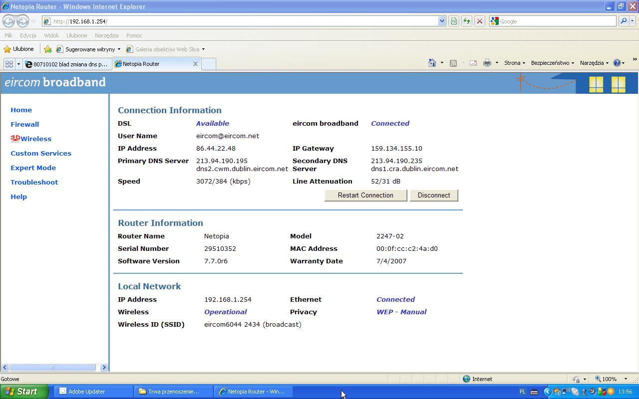 80710102 blad zmiana dns ps3 za pomoca komputera