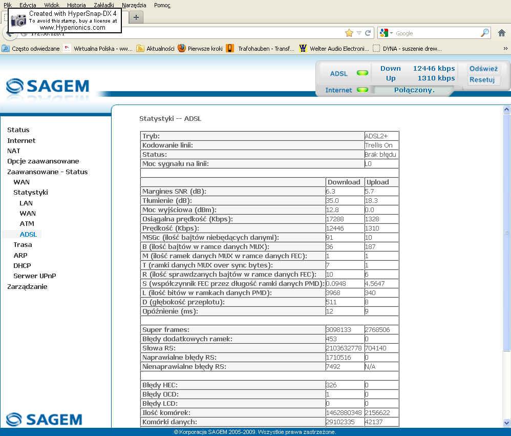 Pr�dko�� na ��czu ADSL2+ przy synch. Down 12446kbps Up1310kbps na ��czu 2Mb/s