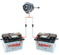 Ładowanie 2 akumulatorów 1 alternatorem