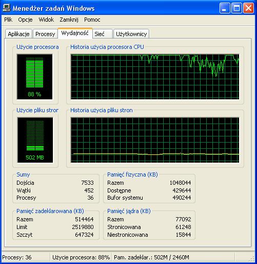 Wysokie u�ycie procesora do 100%