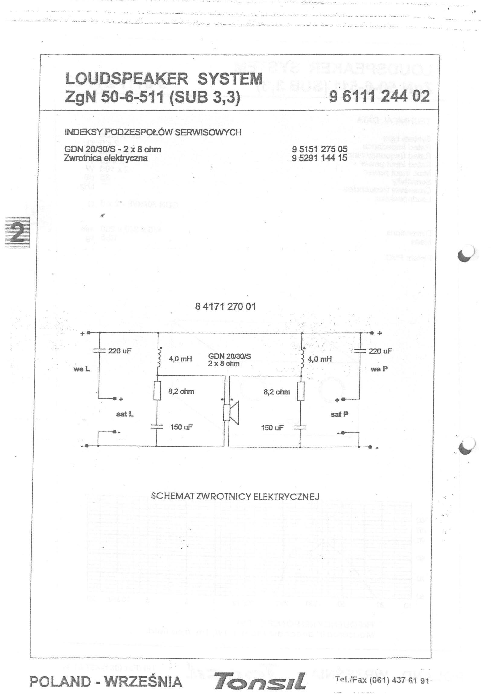 Subwoofer Tonsil ZgN 50-6-511 (Sub 3.3), zadanie rezystora w zwrotnicy.