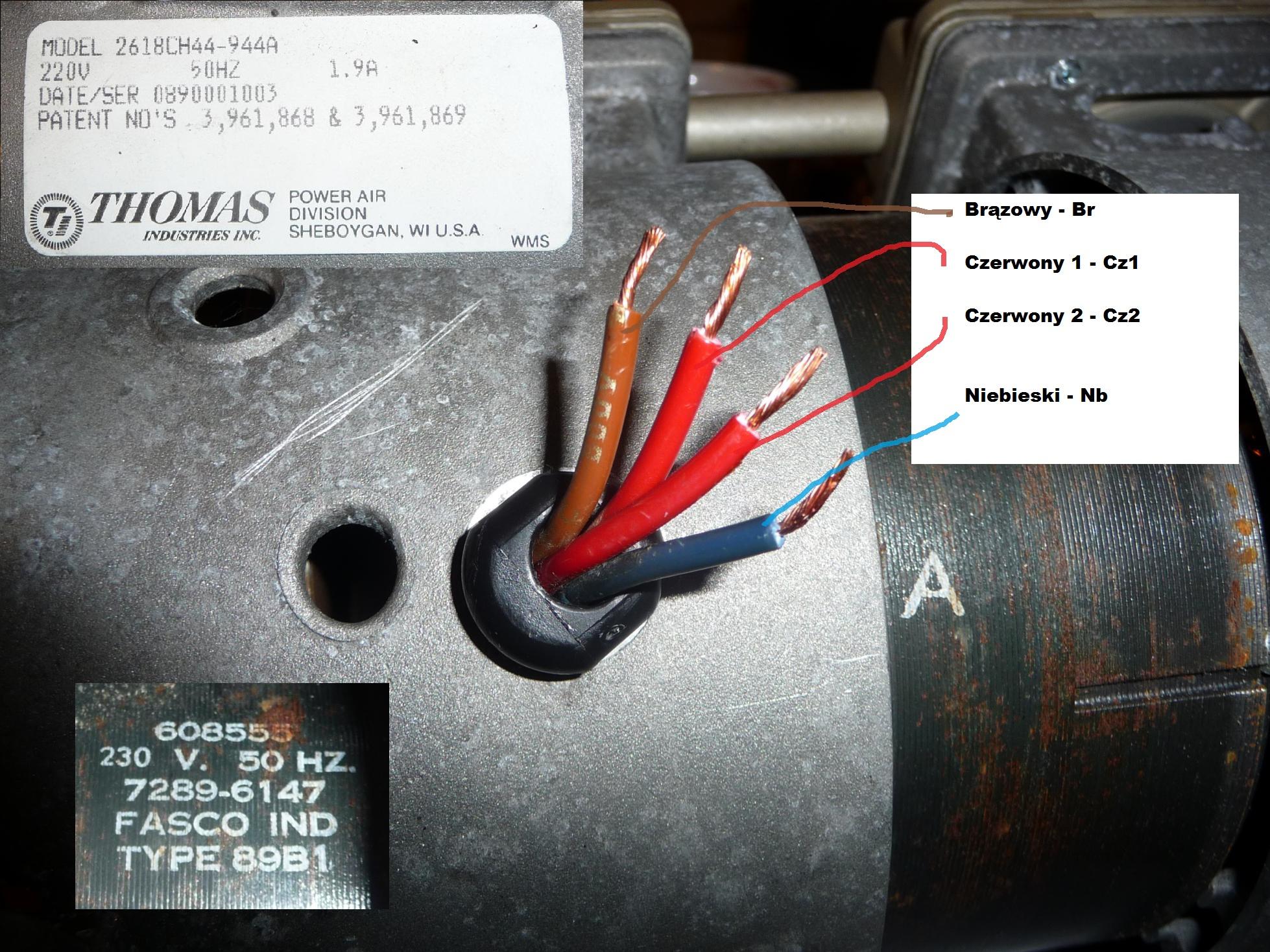 Pompa Thomas 2618ch44 - Rozszyfrowanie pod��czenia i dobranie kondensatora