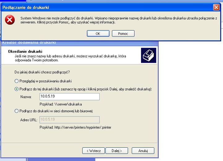 Ricoh 1232c - Nie widzi drukarki sieciowej na xp
