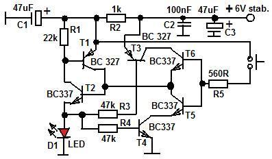 Układ włącz-wyłącz na tranzystorach z jednym przyciskiem