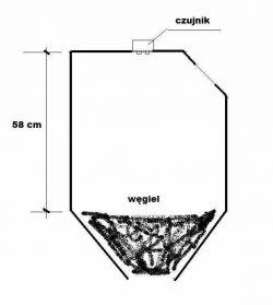 Bezprzewodowy czujnik poziomu węgla do zasobnika na ekogroszek