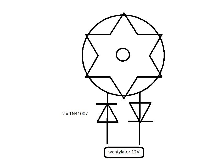 zmiana obrot�w wentylatora w zasilaczu na dw�ch diodach 1N4007