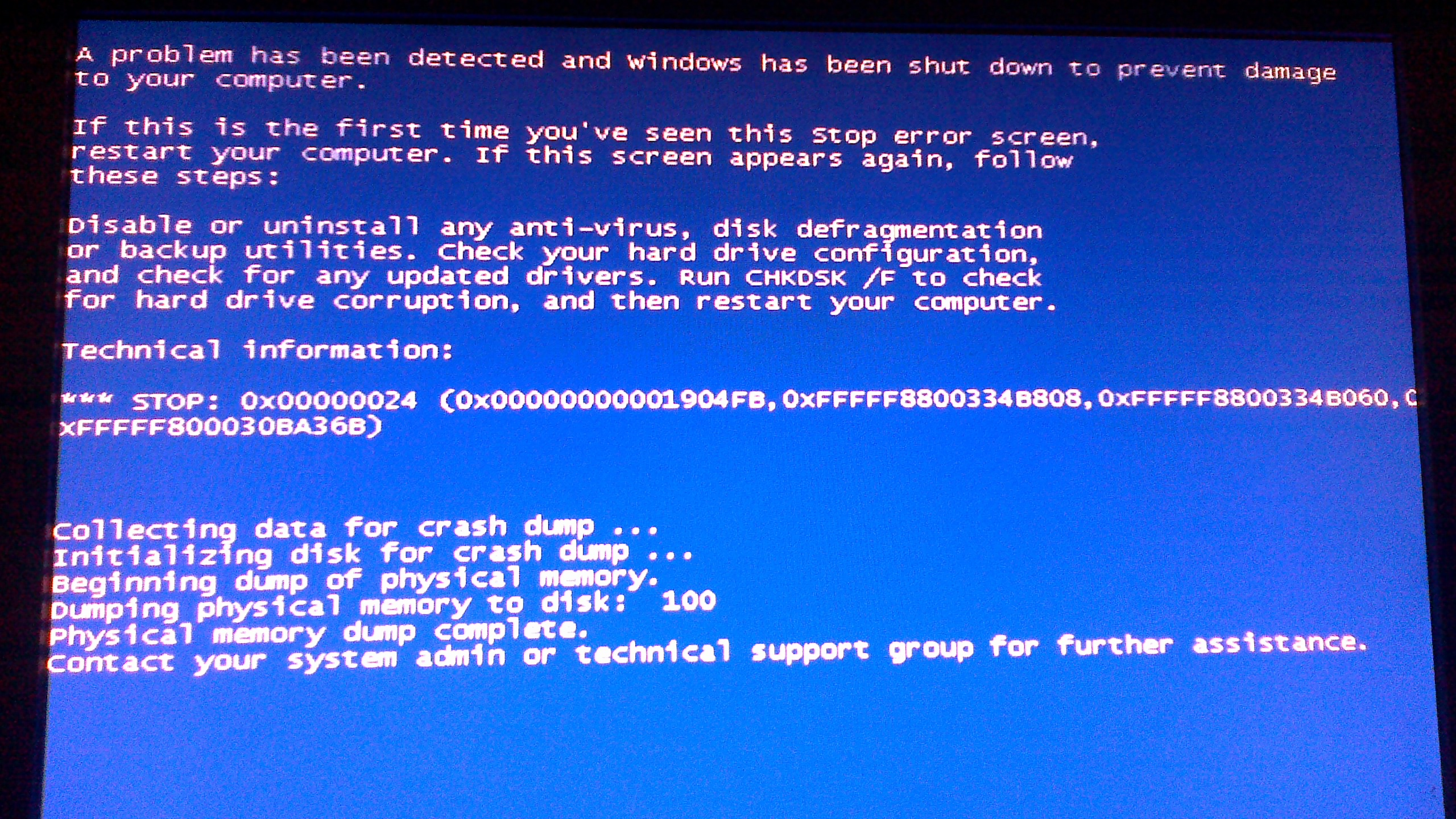 Windows 7 blue screen podczas uruchamiania