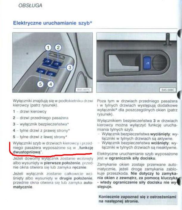 VW Golf 4 - Nie działa funkcja dwustopniowa mechanizmu szyb