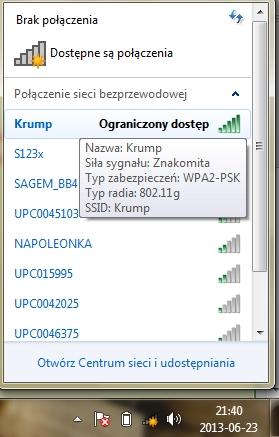 """wifi -win7 - """"Ograniczony dostep"""" do wifi"""