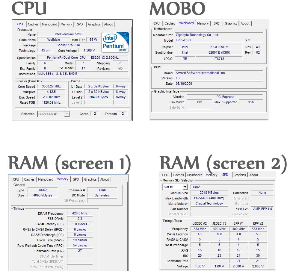 Intel E5200 - E5200 , GA-P35, DDR2 1066 - brak stabilno�ci