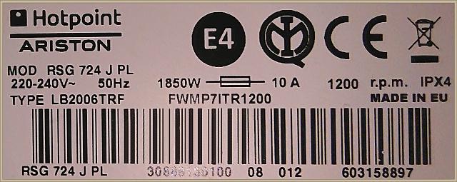 Hotpoint Ariston RSG 724 JW PL - jakie łożyska są w tym typie pralki?