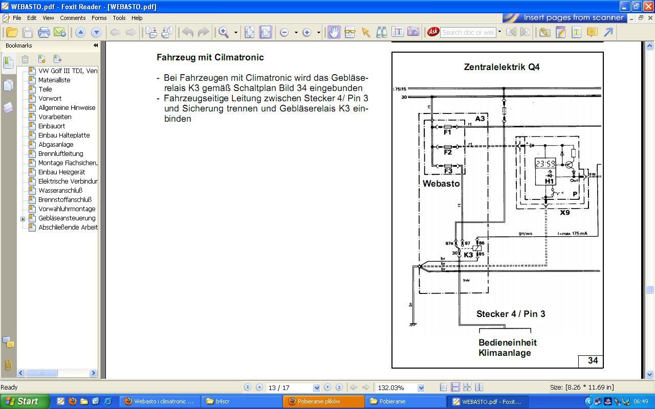Webasto i climatronic w Passacie B4 jak uruchomi� dmuchaw�