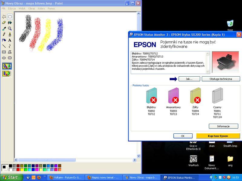 Epson Stylus SX200 - Nie rozpoznaje tuszy